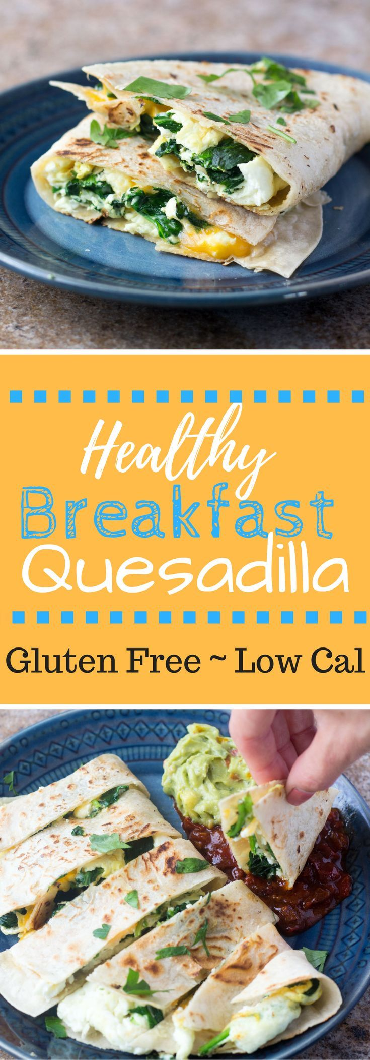 This Healthy Breakfast Quesadilla is filled with spinach, cheddar, and egg whites for a tasty filling healthy gluten free breakfast!   via @hungryhobby