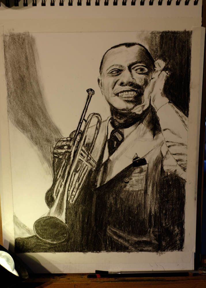 Louis Armstrong (Satchmo) in Vine  charcoal and Derwent charcoal pencil.