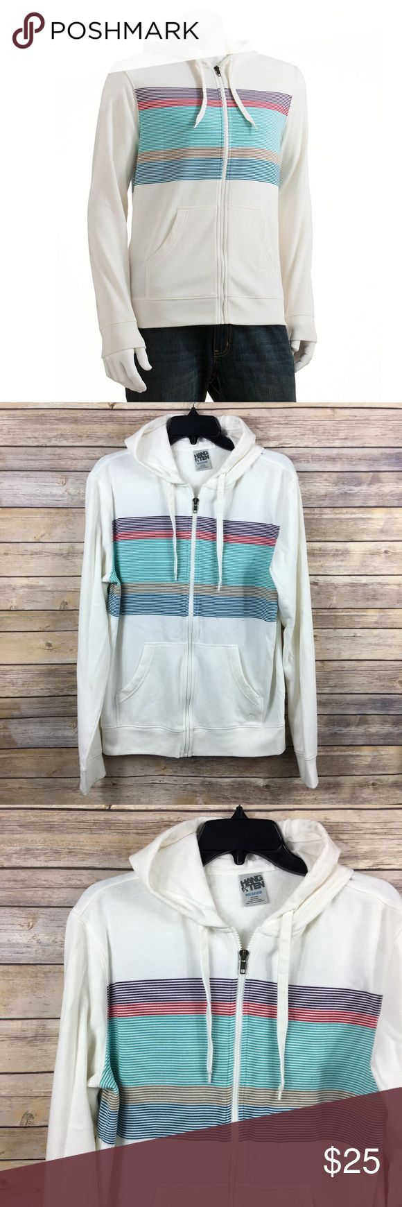 HANG TEN 10 Retro White Striped Rainbow Hoodie M HANG TEN 10 Retro White Striped  Rainbow Zip-Up  Fleece Hoodie  60% Cotton 40% Polyester  Size M Armpit to armpit 20 in Armpit to end of sleeve 22 in Shoulder to hem 27 in Thanks for visiting! Hang Ten Shirts Sweatshirts & Hoodies