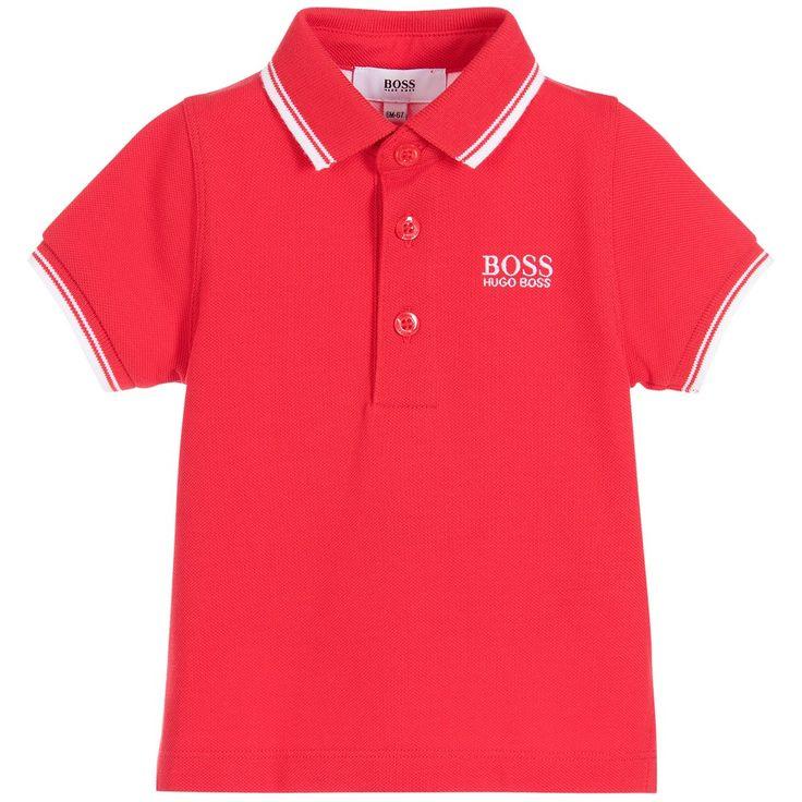 BOSS Baby Boys Red Cotton Piqué Polo Shirt