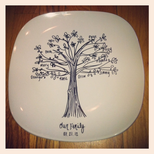 Wedding Gifts For Relatives: Custom Family Tree Commemorative Plate Great Wedding Gift