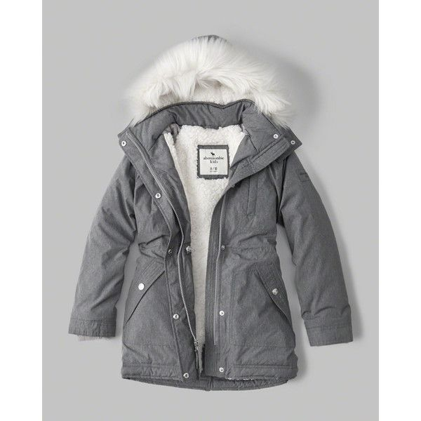 sherpa twill parka jacket ❤ liked on Polyvore featuring outerwear, jackets, twill parka, sherpa fleece jacket, abercrombie fitch jacket, faux shearling parka and parka jacket