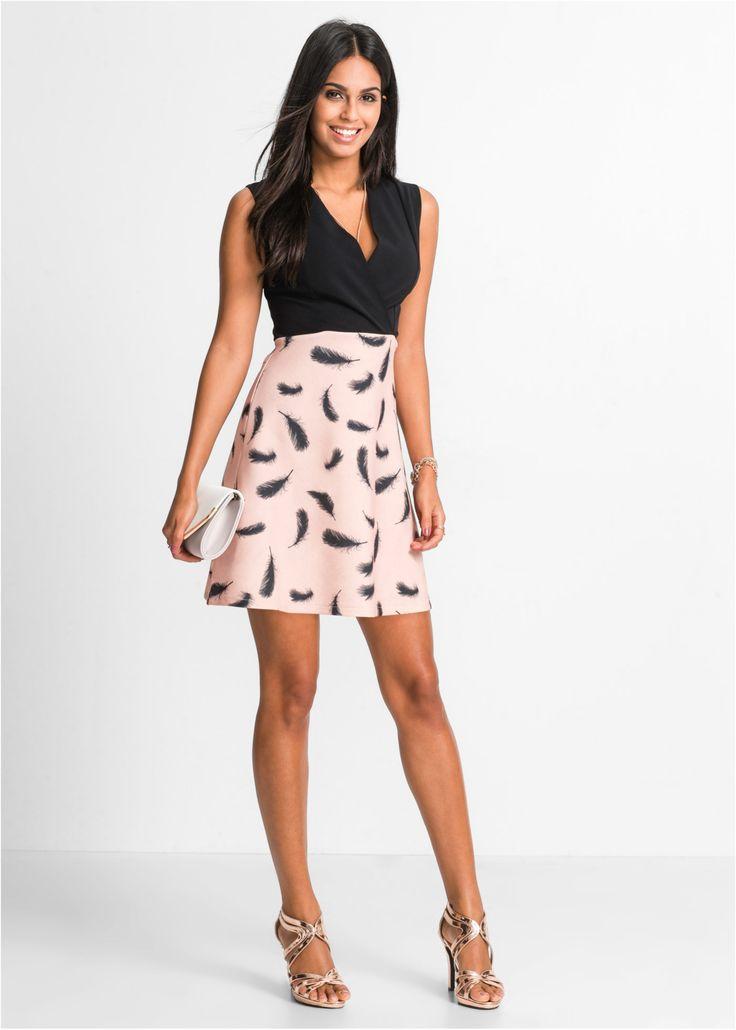 Jurk bordeaux/zwart gedessineerd - BODYFLIRT nu in de onlineshop van bonprix.nl vanaf € 33.99 bestellen. Elegante jurk van jersey met verenprint. Deze jurk ...