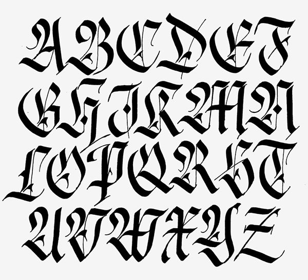 Alfabeto fraktur hecho con parallel penFraktur alphabet made with parallel pen