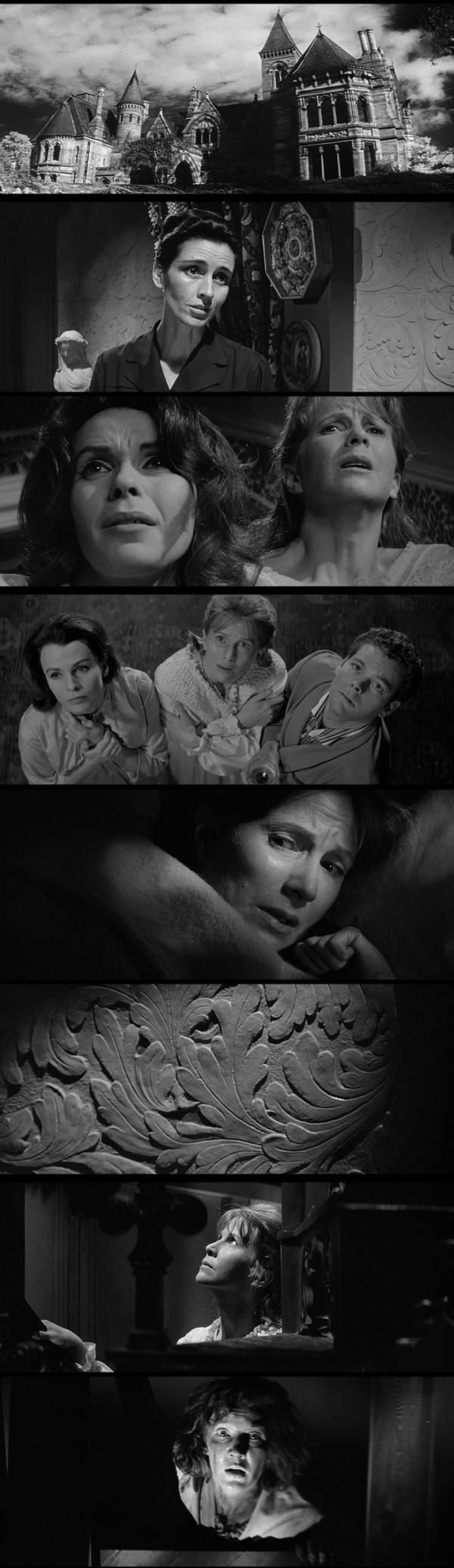 The Haunting (1963), directed by Robert Wise.  Pure haunted house story, with psychic researchers lodging where no one else will. Much spookiness, but is it the house or something they brought with them? Is it a supernatural force, or the growing dementia of one of their members?  Strong cast, great house. A combination of nighttime knocks and banging, weird psychodrama between the characters, and the increasingly distracted interior monologue of one of them.