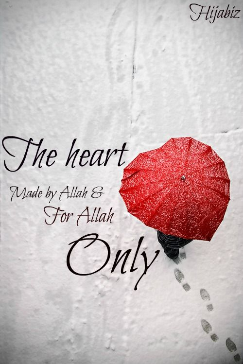 Remember~! Made by Allah and for Allah :)  Dont let your heart fill with anything other than Him and dont let anything hurt it :)  As the heart is fragile, therefore handle it prayer & remember Him :)