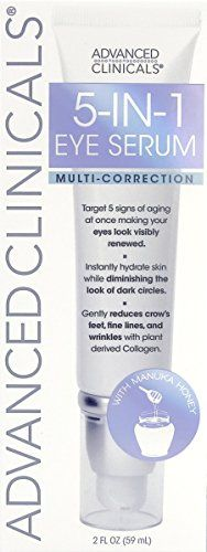 Advanced Clinicals 5-in-1 Multi Correction Anti-Aging Eye Serum with Retinol, Collagen, Vitamin C, and Manuka Honey. For dark circles, wrinkles, crow's feet, fine lines. Large 2oz airless tube.  Anti-aging serum utilizes Plant Collagen, Manuka Honey, Collodial Gold, and K3 Vitamin C to target five signs of aging at once making your eyes look visibly renewed. Instantly hydrates skin while diminishing the look of dark circles, bags, puffiness, fine lines, wrinkles, and crepey eyelids.  L...