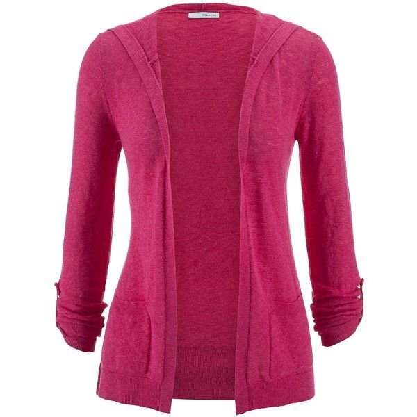 maurices Roll Tab Sleeve Hooded Cardigan (83 BRL) ❤ liked on Polyvore featuring tops, cardigans, jackets, casaco, pink, pink escape, open front cardigan, purple top, open cardigan and cotton open front cardigan