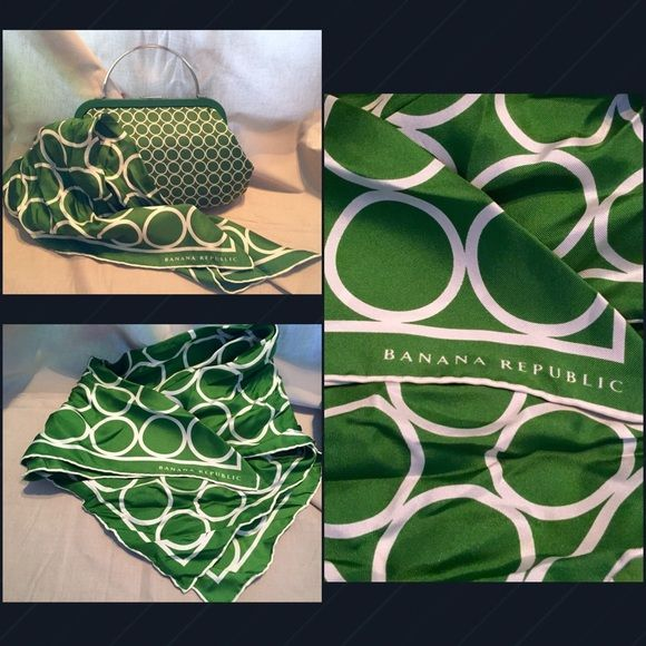 $20 off Banana Republic Purse & Scarf Beautiful Green/White Banana Republic Purse & Scarf.. The Purse is green with small white circles with silver handles & silver open/close clasp... The Scarf is a perfect match with this beautiful little purse.. The circles on the scarf are larger in size but is perfect match for this beautiful little bag. Both only used/worn once.. ALL REASONABLE OFFERS WILL BE ACCEPTED Banana Republic Bags Clutches & Wristlets