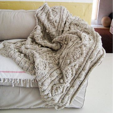 Chunky Cotton Cable Knit Throw by BiscuitScout - traditional - throws - Etsy