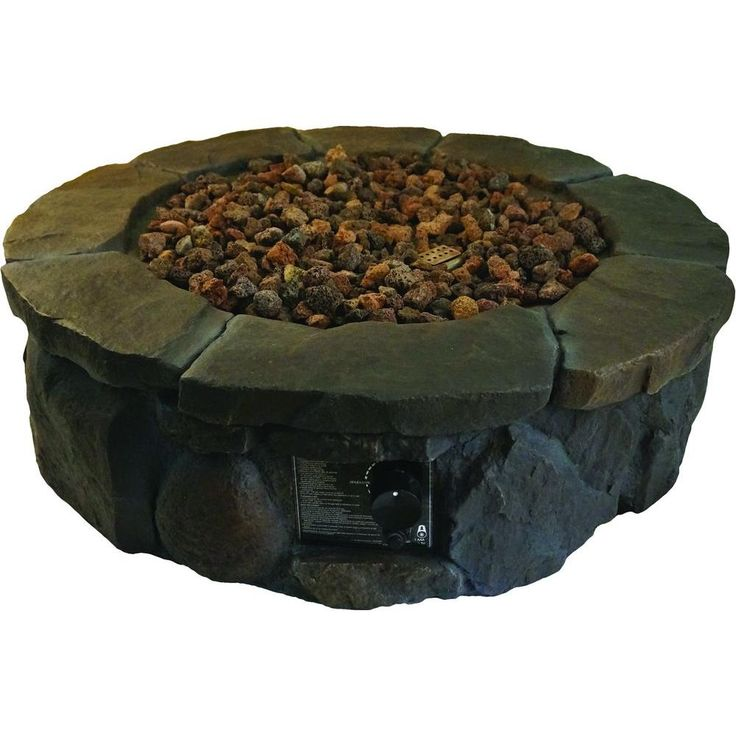 This is cool looking. Same brand as our patio furniture. Hampton Bay 36 in. Envirostone Propane Fire Pit-68163 - The Home Depot