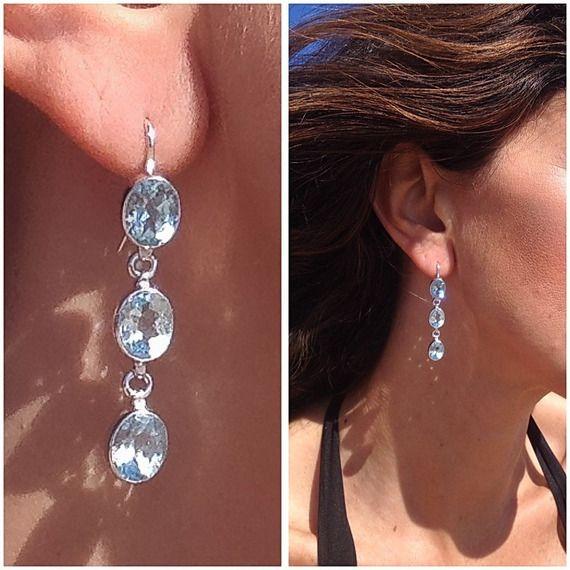Boucles d'oreilles topaze bleu en argent 925 Boucles d'oreilles pendantes pierre fine Bijou bohème chic