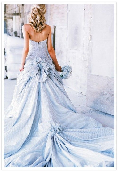 Baby Blue Seersucker Wedding Dress, as seen in Southern Living Wedding Magazine.  Love the dress, not so much the color