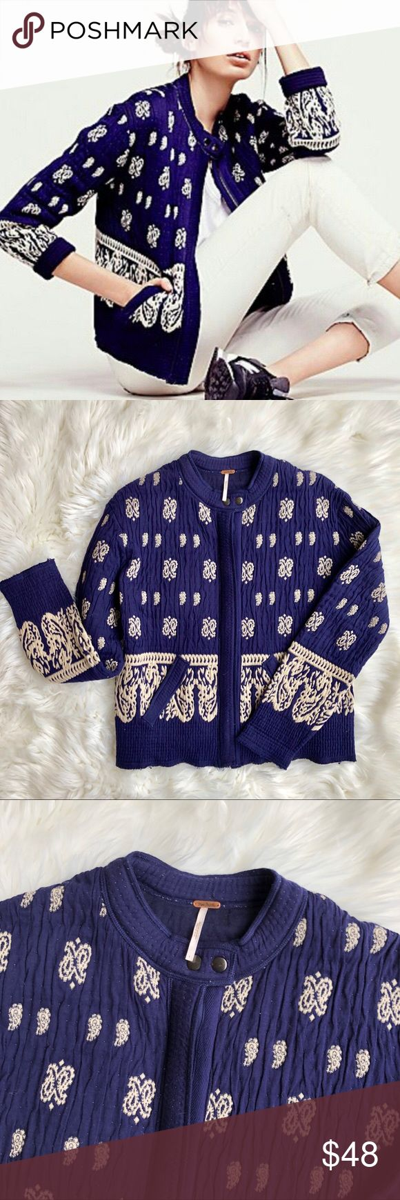 Free People Jacket 8 M Blue Embroidered Blazer • Brand:Free People  • Size:8 • Material: See picture of tag in photos • Previously owned, excellent used condition  • Length 25 Bust 21  • Other info: cute embroidered jacket! Thicker style. Zips up front  •Inventory id:767 Free People Jackets & Coats Blazers