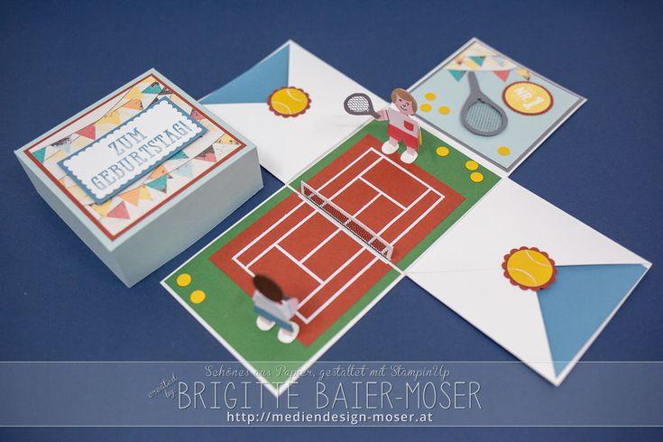 Explosionsbox Tennis | Mediendesign Moser, hergestellt von Brigitte Baier-Moser mit Stampin'Up!