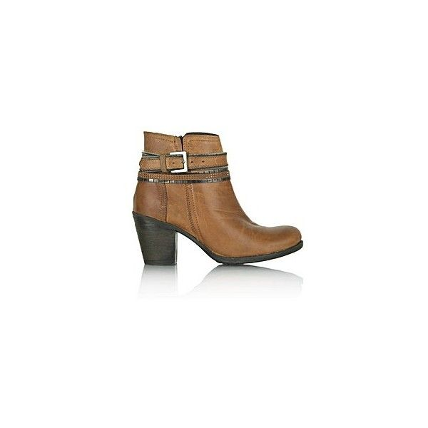 Daniel Loki Tan Leather Chain Ankle Boot ❤ liked on Polyvore featuring shoes, boots, ankle booties, tan leather boots, short boots, tan leather ankle booties, genuine leather boots and leather boots