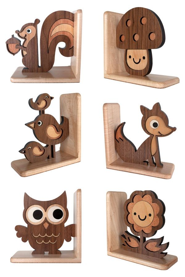 Bookends- too cute for a forest themed room.