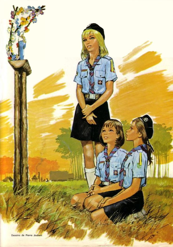 """French Girl Scouts Praying to the Virgin Mary  - """"Healthy Christian moral values make for happier kids & and a greater nation."""""""