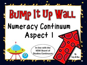 This fun Space themed Bump It Up Wall includes all indicators in line with the NSW Board of Studies Numeracy Continuum - Aspect 1 - Forward number sequencing, backward number sequencing, numeral identification, counting by 10's & 100's. - Aspect 2 - Early arithmetical strategies.The Bump It Up Wall is designed to be used as a visual tool for students to pinpoint their current level of learning/understanding then chart their own progress toward specific goals.