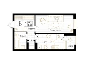 ЖК New York Concept House: планировка 1-комнатной квартиры 42.2 м2, тип 1В