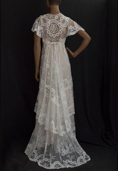 Edwardian Clothing at Vintage Textile: #2626 Princess lace wedding dress