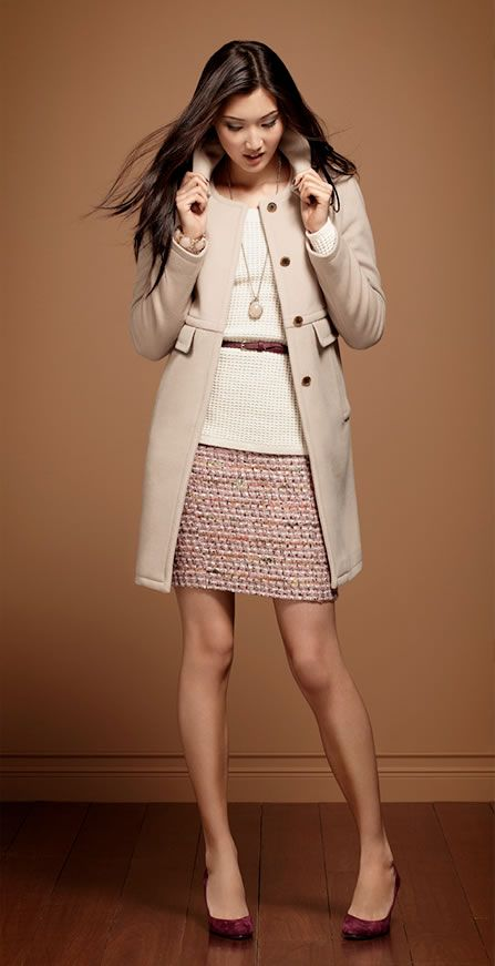 Ann Taylor - Must-Have Looks.  Love the texture of this skirt paired with simple sweater, belt, and jacket.