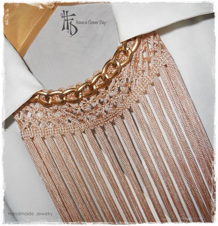 BOHO. Long necklace of fringes in nude with golden chain. Last piece. by HaveaFlowerDay on Etsy https://www.etsy.com/listing/217291669/boho-long-necklace-of-fringes-in-nude