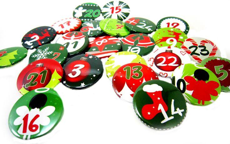 ADVENTSKALENDER GOD JUL Buttons Weihnachten Zahlen von www.annesvea.de