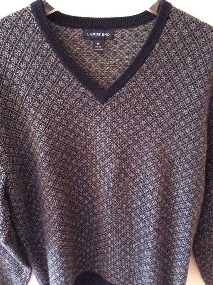 Lands End Cashmere Sweater V-Neck Long Sleeve Blue Fair Isle Mens ...