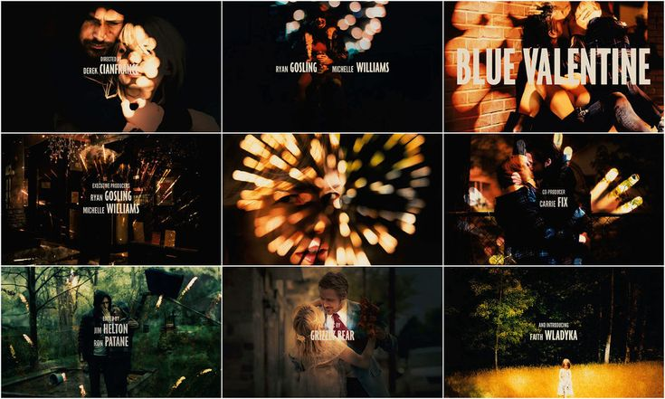 Blue Valentine (2010) - The title sequence is quite long and repetitive, but the movie is pretty amazing and beautiful.: Title Sequences, Movies Title, Blue Valentines, Title Design, Film Things, Close Credit, Valentines Close, Valentines Credit, Sequences Inspiration