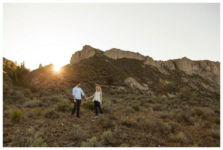 Desert Mountain and Orchard Sunset Engagement Photography