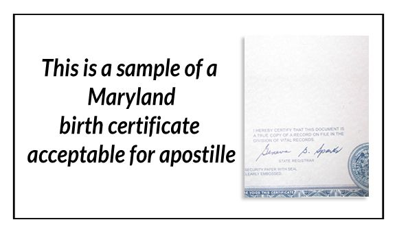 this is a sample of a maryland birth certificate