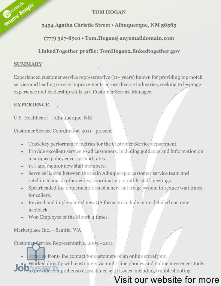 Pin on Great Customer Service Resume Examples 2020