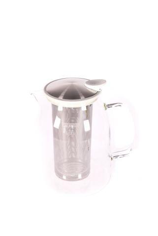 """Pichet à thé glacé """"Mist"""" en verre avec bordure de couleur blanche"""