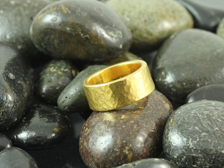 Wide, heavy 22kt gold hammered wedding band.  Handmade at Union Street Goldsmith, San Francisco