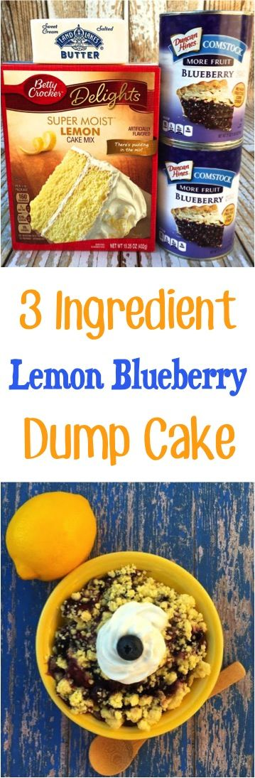 Lemon Blueberry Cake Recipe!  Desserts don't get much easier than this 3 Ingredient Dump Cake Recipe!