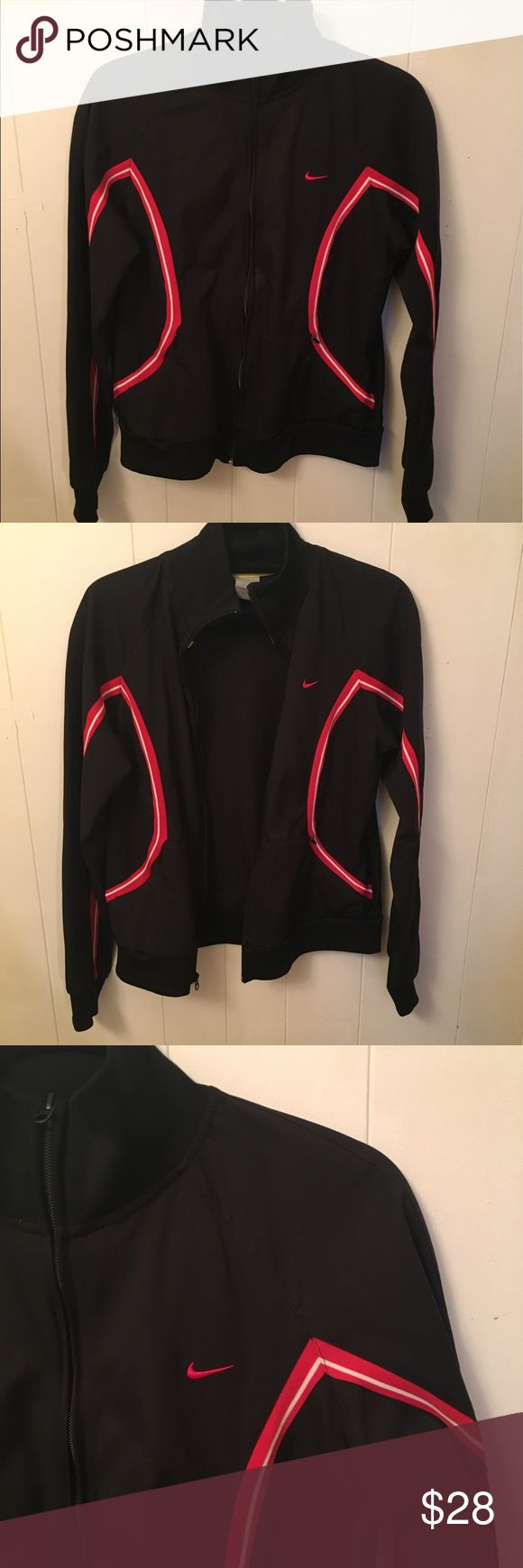 Nike Track Jacket Nike Track Jacket Size - L   Color - Black/Red Zip up track jacket, 2 front pockets 100% Polyester Gently used, in great condition Nike Jackets & Coats