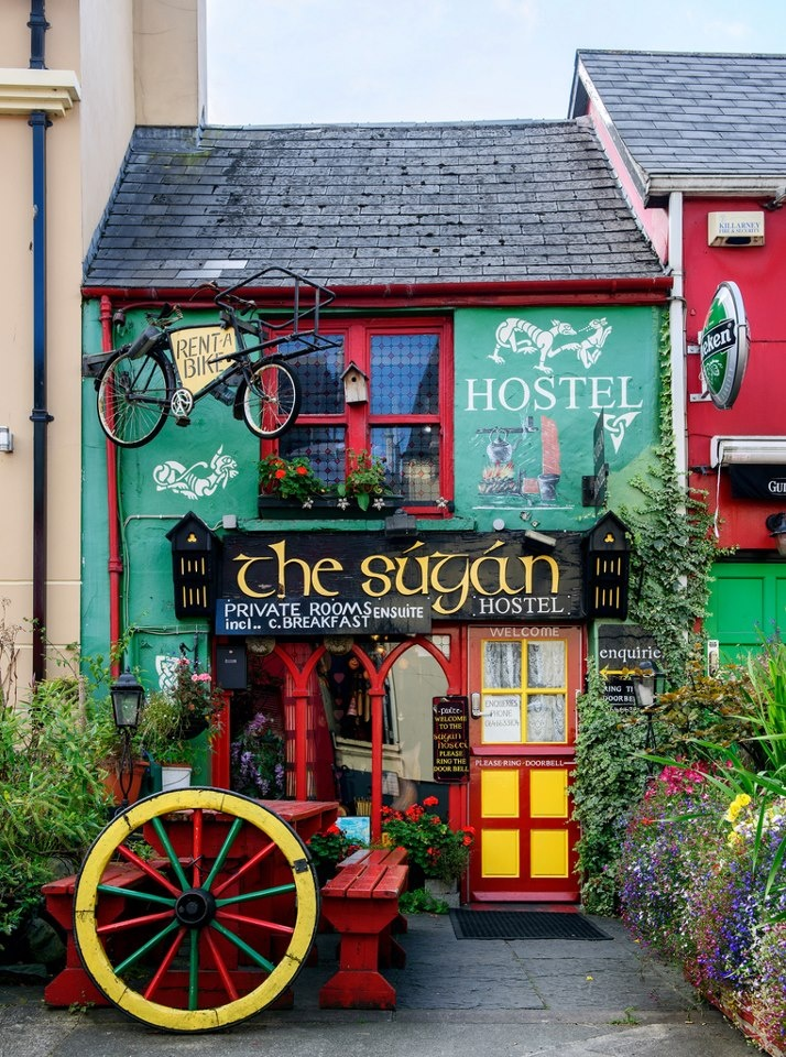 A hostel adds color to a neighborhood in the town of Killarney, Ireland