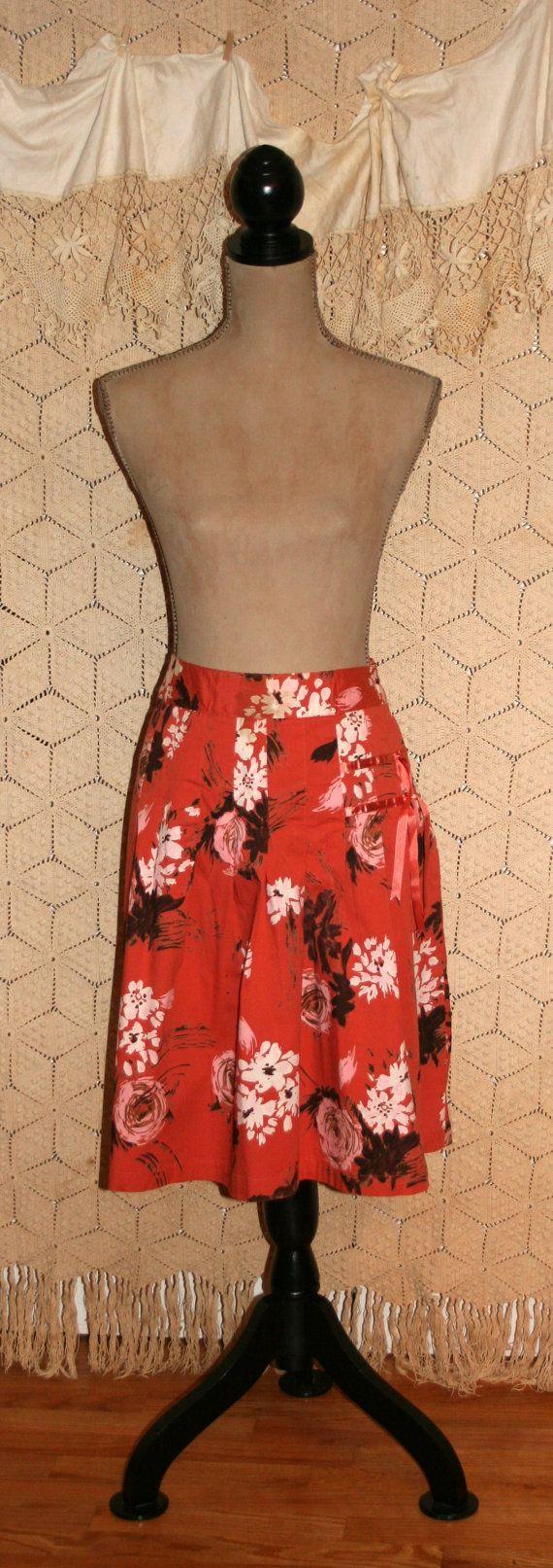 Floral Skirt Orange Print Skirt Fall Skirt Autumn by MagpieandOtis
