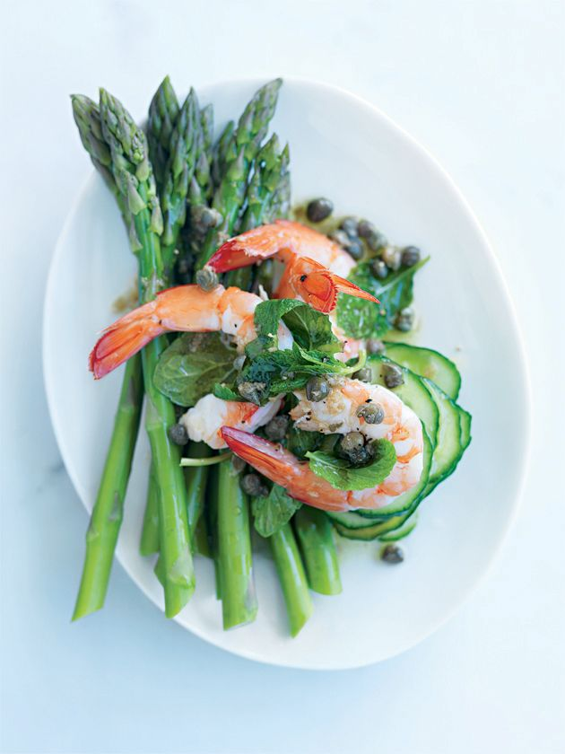prawn and asparagus salad with caper dressing  (Donna Hay's recipe)