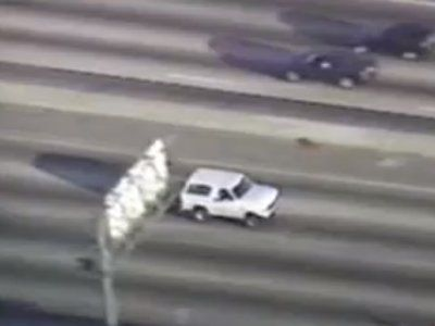 O.J. Simpson Car Chase – June 17, 1994 – 6:45 PM PT.  O.J. was wanted for questioning on Nicole Simpson and Ronald Goldman murders. LAPD agreed Simpson to turn himself in, but he never showed.   At 6:45 pm, a police officer approached the White Bronco on I-405.  Simpson had a gun to his own head. Officer backed off, and followed at 35 MPH, joined by 20 police cars and helicopters. 95 million watched on live TV.  http://abcnews.go.com/Archives/video/june-17-1994-oj-simpson-car-chase-10554624