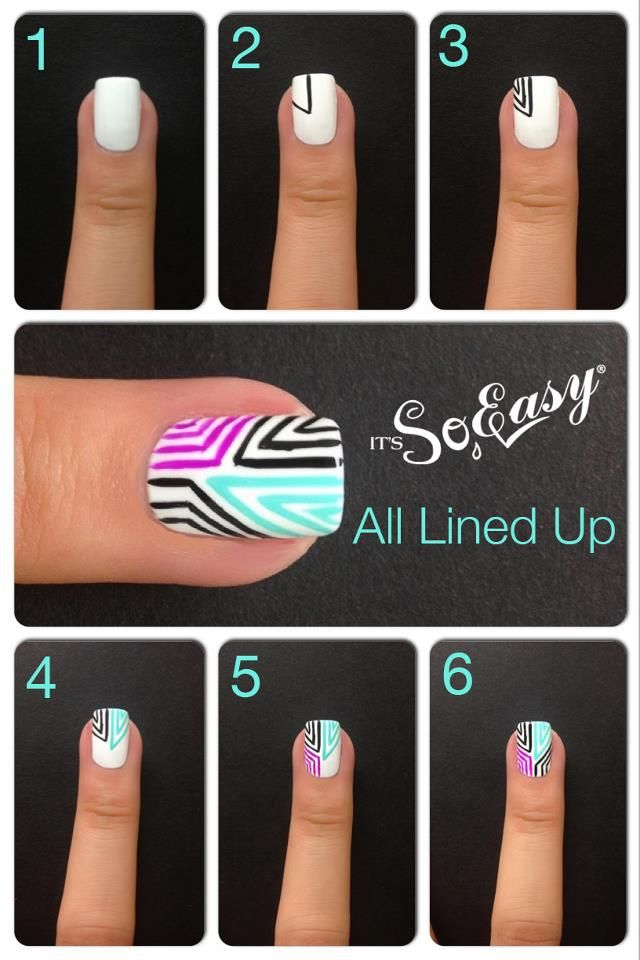 It's So Easy Nail Art....maybe if my hand wasn't shaky <<< You can do this with sharpie you know. You can draw anything you like with sharpie on your nails. If you put a base coat down first, the sharpie will just chip off with the polish, so it does come off and it is a lot easier to manage than polish.
