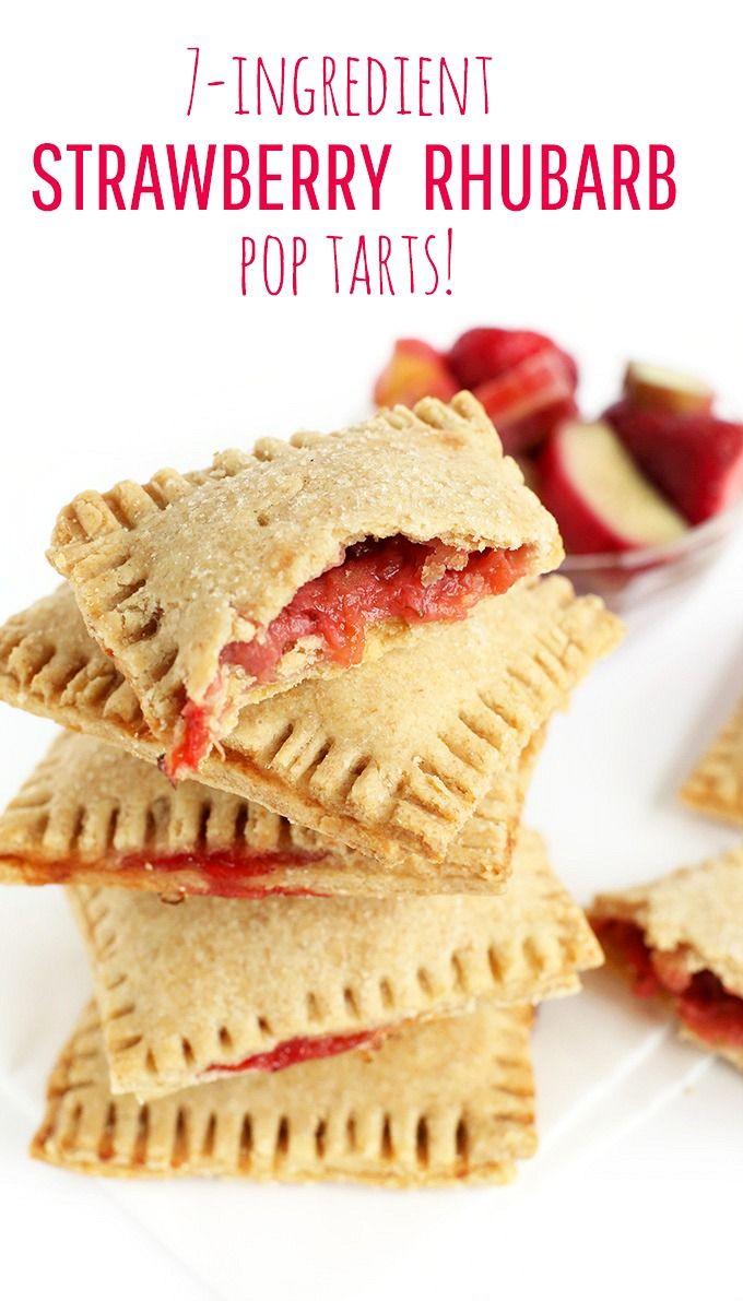7 ingredient VEGAN Strawberry Rhubarb Pop Tarts! Flaky, whole grain and SO fruity.