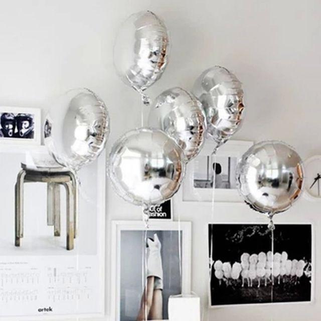 5ピース18インチパーティーインフレータブルボール箔風船シルバー結婚式の装飾ハッピーバースデーインフレータブルおもちゃ気球