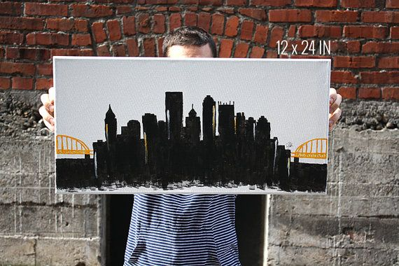 Pittsburgh Pennsylvania Canvas Skyline by CharlotteJDesigns