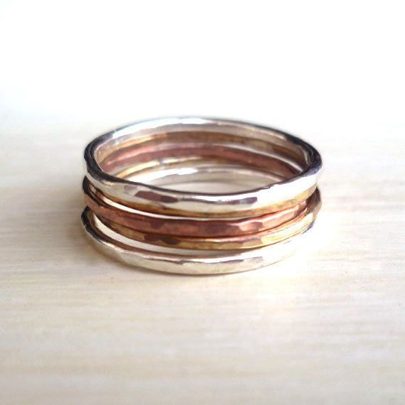 Stacked Rings  Sterling Silver  Brass  Copper  door andyshouse, $50.00