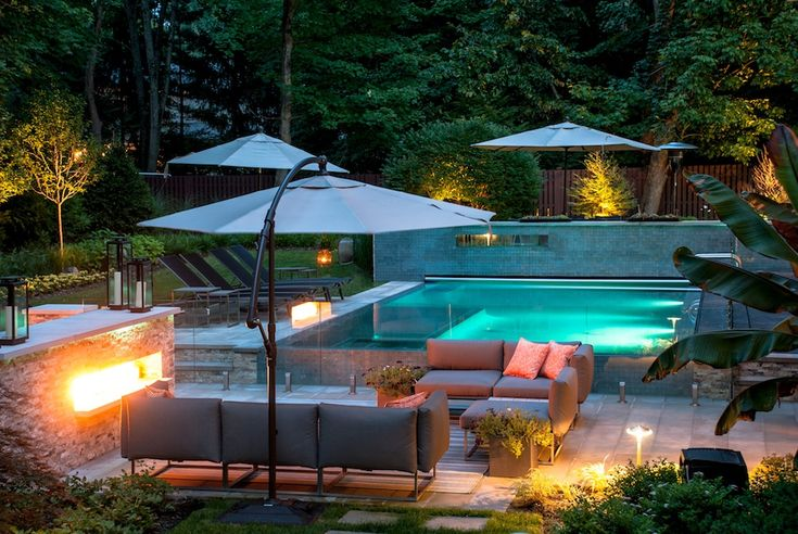 Pool Ideas Backyard Living | The modern pool design is set in a luxurious outdoor living space. The ...