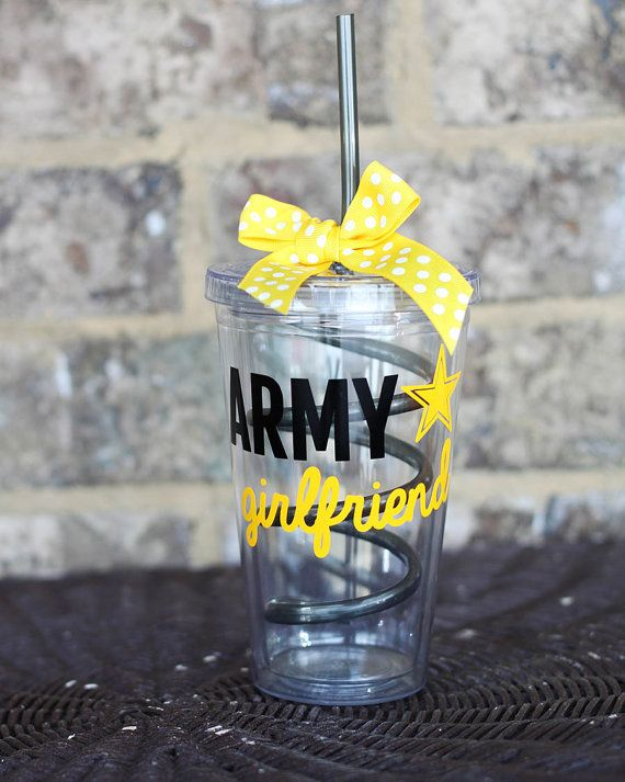 Personalized Yellow Army Girlfriend 16 oz Clear Tumbler by Rebecca Lane Graphics on Etsy!