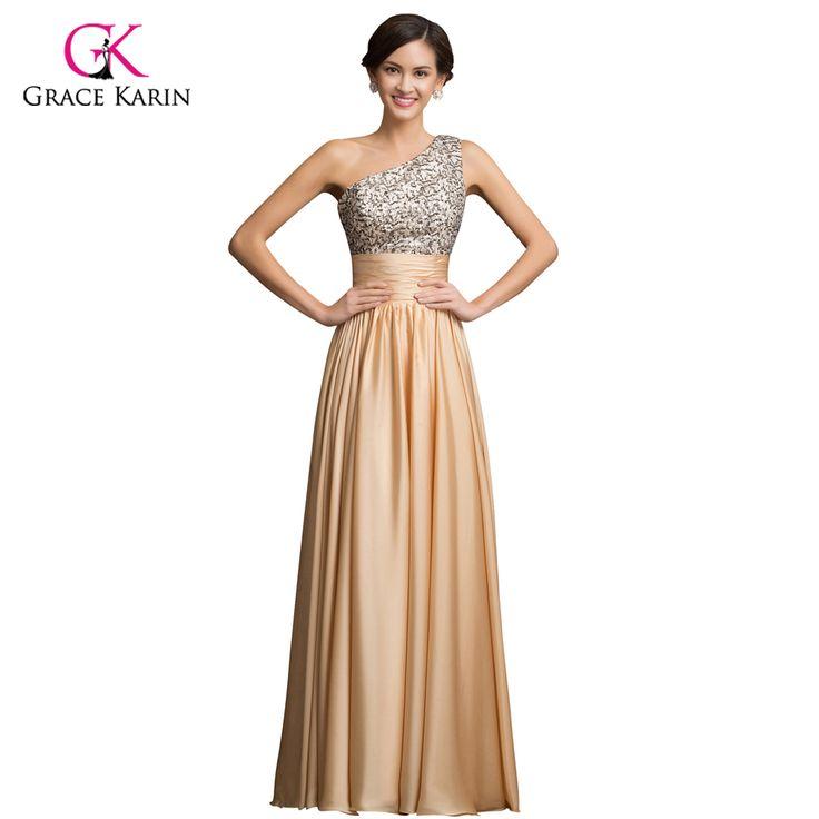 One Shoulder Evening Dress Grace Karin Sequin Gold 2017 New Arrival Women elegant golden Formal Gowns Long dinner Party Dresses
