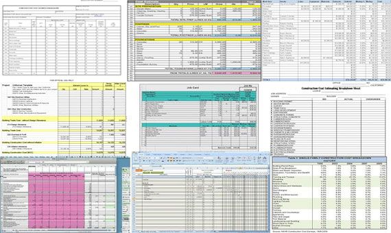 The construction estimating spreadsheet includes formulas to track cost estimates, actual costs, variances, payments, balances due etc. http://constructioncost.co/construction-cost-estimating-sheets.html
